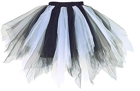 Dancina Damen Petticoat 50er Jahre Retro Tutu Tüllrock Weiß /