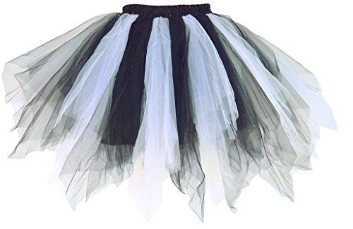 Dancina Damen Petticoat 50er Jahre Retro Tutu Tüllrock Weiß / Schwarz Standardgröße