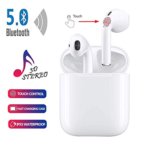 Auriculares Bluetooth, Auriculares Inalámbricos, Reducción de ruido de micrófono HD con Caja de carga de 24 horas, Compatible Con iPhone/airpods/ Android, todos los dispositivos Bluetooth
