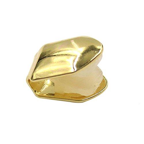 QHGstore Hip Hop entfernbare einzelne Zahnkappe feste lustige gefälschte Zähne Halloween Parteien Goldener Einzelzahn