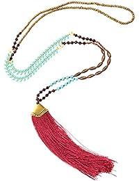 83f5405cd496 Collar de Perlas Cadena Cuerda del Boho Encanto Pendiente Borla Flecos