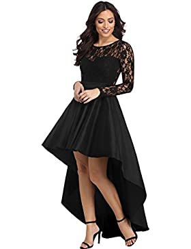 Vestidos La mujer de manga larga con cuello redondo Lace paneles huecos de faldas de cintura alta