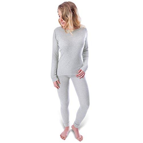 Black Snake Damen Thermo Unterwäsche mit Innenfleece - Set Unterhemd und Unterhose - M - Grau