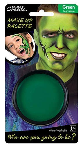 Mädchen Grün Gesichtsfarbe Halloween Monster Hexe Kostüm Kleid Outfit Make-Up Zubehör ()