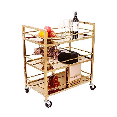 Servicewagen, 3-lagiger Weinkarren mit Rädern aus Edelstahl, multifunktionales Mehrzwecklagerfahrzeug (Größe: 74 * 45 * 88 cm)