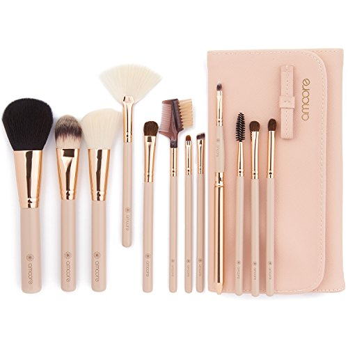 l Pinselset Make Up Pinsel Sets Make Up Buersten mit der PU Leder Kosmetiktasche (12 Stück, Nackt) (Make-up-set)