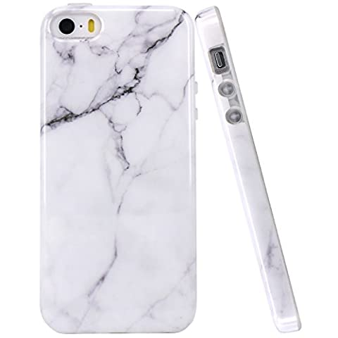 iPhone 5 Case, JIAXIUFEN White Marble Design Clear Bumper TPU Soft Case Rubber Silicone Skin Cover for Apple iPhone 5 5S