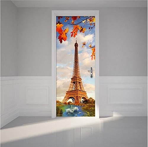HHKX100822 Türaufkleber Kreative DIY 3D Wand Tür Aufkleber Paris Turm Schwanensee Tapete Moderne Wohnzimmer Restaurant Wohnkultur Aufkleber 90X200Cm - Paris-wand-aufkleber
