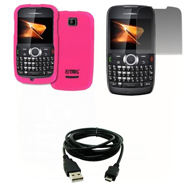 EMPIRE Hot Pink Rosa Gummierte Harte Case Tasche Hülle Cover + Displayschutzfolie Film + USB Datenkabel Data Cable for Boost Mobile Motorola Theory X430 - Für Mobile Boost Handy