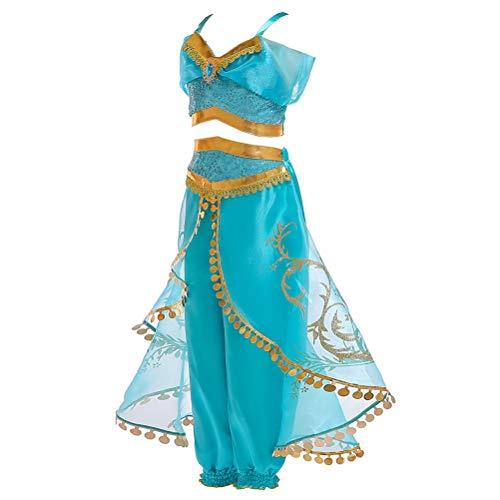 Fenical 2 pezzi cosplay principessa costume ragazza danza abiti costumi con paillettes top e culotte misura 150 cm di altezza