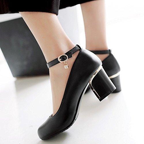 TAOFFEN Damen Basic Ankle Strap Block Heel Pumps Closed Schuhe Schwarz