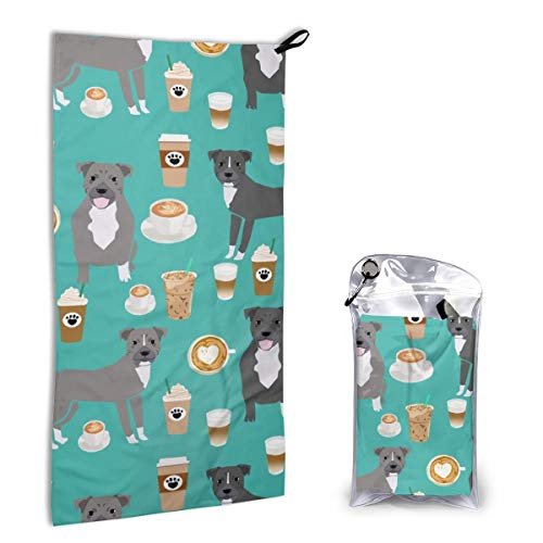 Quick Dry Microfiber Towel Pitbull Grey Coat Coffee Latte Cafe Dog Breed Turquoise for Beach Travel Swim Camping 15.7