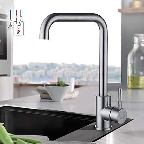Wasserhahn Spültischarmatur 360° Schwenkbar für Küche | LONHEO Einhebelmischer Küchenarmatur Spültisch Mischbatterie | Edelstahl Niederdruck Hoher Auslauf