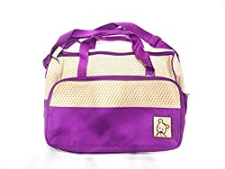 purple dotted with beige colur mother bag