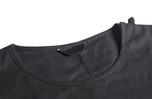 Retro-Plattenknöpfe Chinesische Großes T-Shirt Der Männer Kurzhülse Blusen Sommer Leinen Black