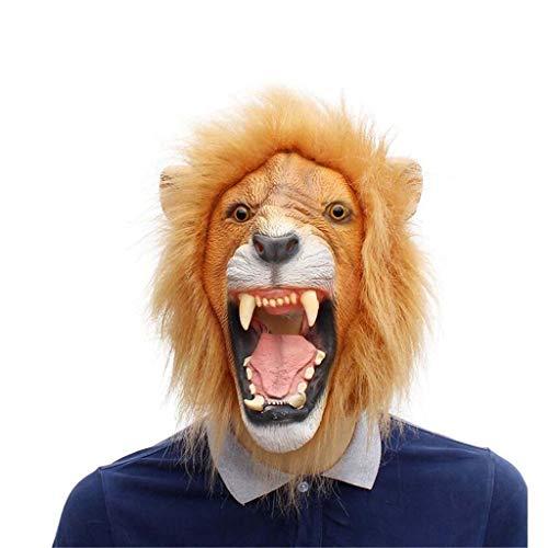 KODH Halloween COS Tier Maske Ordentlich Realistische Maske Horror Maske Verrückt Tier Stadt Löwenkopf Maske Maske Latex Maske ( Size : One Size - Tier Kostüm Party Stadt