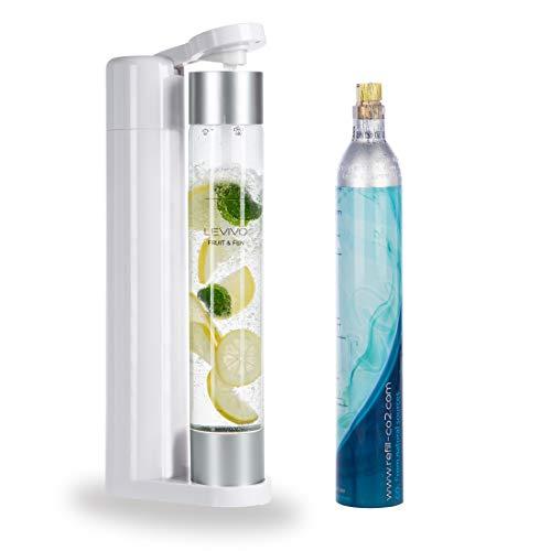 Levivo Wassersprudler Fruit & Fun Sprudler Slim, mit 1-Liter-Sprudlerflasche und CO2-Kohlensäure-Kartusche, Kohlensäure für Wasser, Cocktails und andere Getränke, Farbe weiß und silber