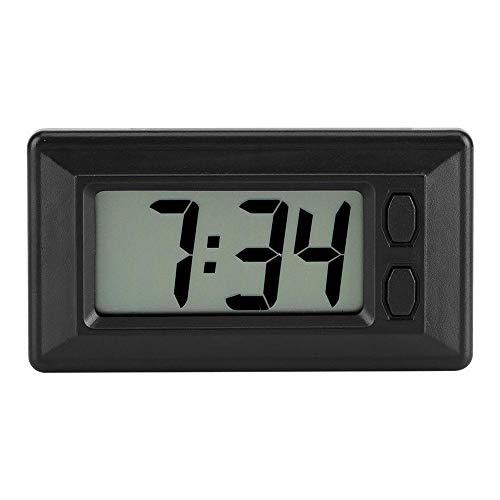 Febelle Digitale Uhr, ultradünn, Zeitdaten, LCD-Display mit Kalender für Auto, Armaturenbrett, SUV, LKW, Zuhause - Kleine Wanduhr Digital