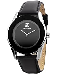 Ted Lapidus - 5117801 - Montre Homme - Quartz Analogique - Cadran Noir - Bracelet Cuir Noir