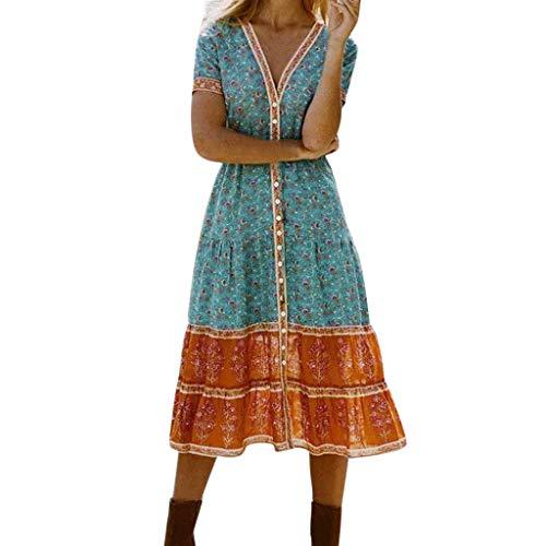 Heiß kleider für Damen Liusdh Boho Long Printed V-Ausschnitt Kurzarm Abend Partykleid Strandkleid Holiday Sommer Maxi-Kleid(Green,M) - Green Holiday Kleid