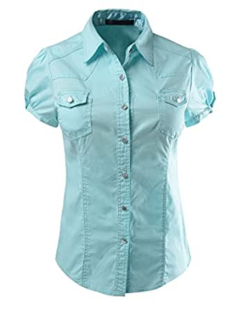 Le3no womens cotton short sleeve button down shirt amazon for Women s short sleeve button down cotton shirts