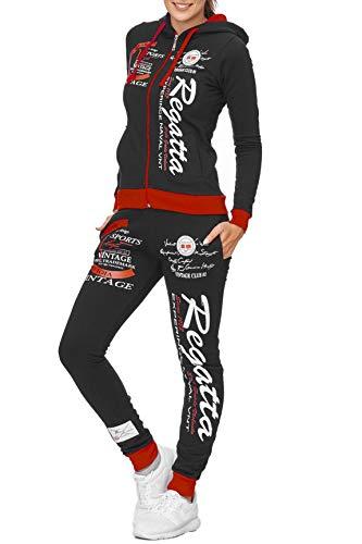 Damen Trainingsanzug | Regatta 672 | Jogging-Anzug aus 100% Baumwolle | Trainings-Jacke mit Reißverschluss | Jogging-Hose mit Tunnelzug und Zugband | Sport-Anzug (S-fällt größer aus, Schwarz-Rot)