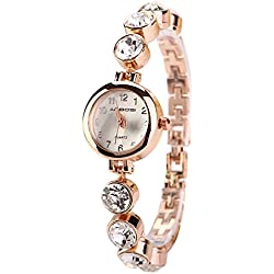 Sanwood® Women's Fashion Rhinestones Alloy Bracelet Quartz Watch Dress Wristwatch
