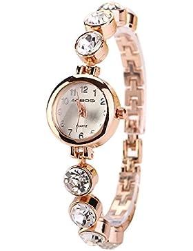 Bluelans® Elegantes Fraun Damenuhr Strasssteine Armband Quarz Armbanduhr Uhren Damenarmbanduhr (Gold - Runden...