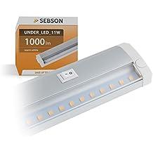 SEBSON Barra luminosa LED, luce bianca calda, 60cm, barra LED, 11W, 1000 lm lampada LED da incasso espandibile