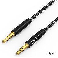 Cable Jack,Kinps 3m audio de Nylon Trenzado 3.5mm para coche,altavoces,auriculares, iPhone, iPad, iPod, Samsung, MP3 Player.(Negro)