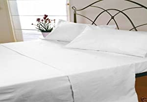 Viceroybedding Double, White, Thermal Flannelette Fitted Sheet, Flat Sheet and Pillowcases Set, 100% Brushed Cotton