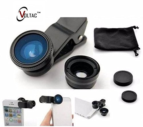VOLTAC` ™ Universal Clip Type 3 in 1 Fish eye, Wide Angle & Macro Lens for All Android/Smartphones