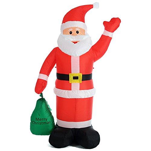 Bakaji babbo natale gonfiabile con sacco dei regali autogonfiabile grande altezza 180 cm con illuminazione a led e kit fissaggio per esterno protezione ip44 addobbo e decorazione natalizia