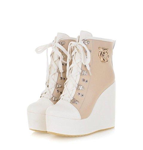 Best 4U® Scarpe da donna PU Stringa in tessuto Colore 10cm tacchi alti Martin Stivali Round-toe Scarpe Casual Style beige