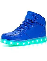 Wasnton Unisex Kids USB de Carga de Color LED Zapatos Ligeros Zapatilla Deportiva con Destellos High-Top