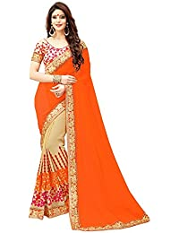 NENA Fashion Women's Embroidered Orange And OffWhite Half And Half Georgette Saree With Blouse Material