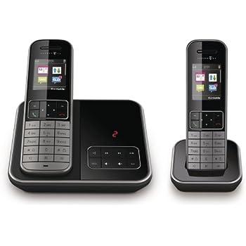 T - Sinus A606 / A 606 DUO Set schwarz / graphit analoges DECT Telefon mit Anrufbeantworter