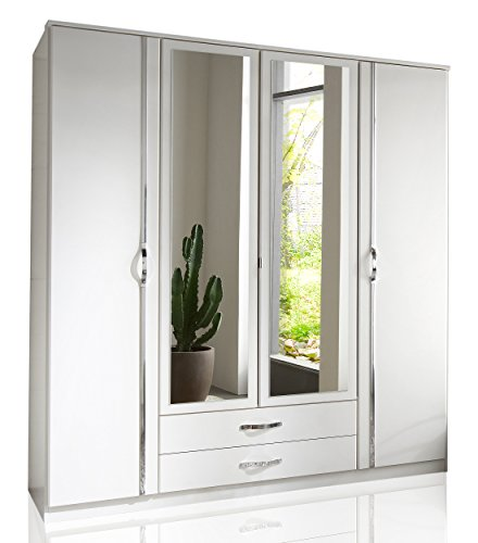 Wimex 78453 Kleiderschrank/ Drehtürenschrank Duo, 4 Türen, 2 Schubladen, 2 Spiegel, (B/H/T) 180 x 198 x 58 cm, Weiß