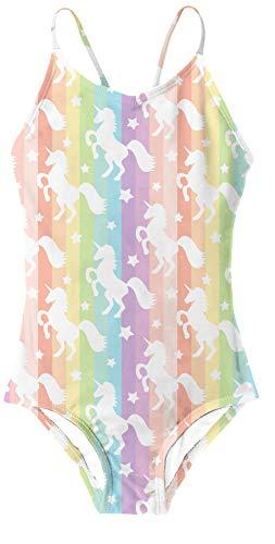 RAISEVERN Kinder Mädchen Einhorn Einteiler Badeanzug Baumwolle Mischung süße Bademode Bunte 7-8T (Die Bikini-mischung)