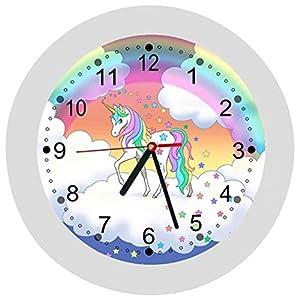 ✿ Kinderwanduhr in 4 Farben ✿ Einhorn Unicorn 9 ✿ Wanduhr ✿ KEIN TICKEN ✿ mit/ohne Name