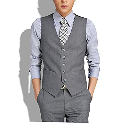 Laixing Qualité Luxury Men's Slim Fit Dress Casual Vest Formal Waistcoat Business Jacket Coat