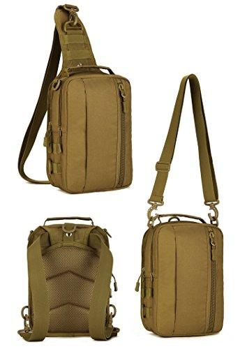 Imagen de hombre mujer bolsa táctico militar bolsa de pecho bolso al hombro de moda bolsa de aire libre para ocio deporte senderismo bolsa , marrón oscuro alternativa