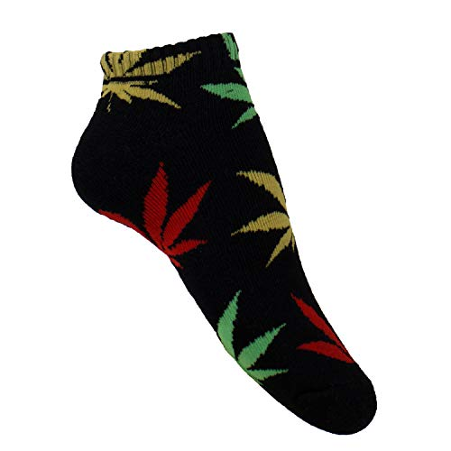 plantlife Sneaker Socken Halbsocken Hanf Unisex, universelle Größe *Farbe: schwarz/bunt