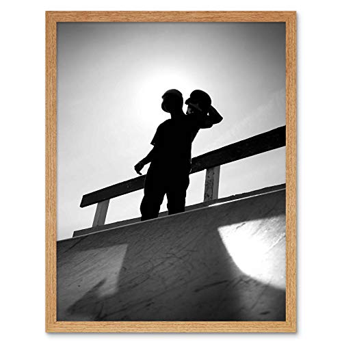 Wee Blue Coo LTD Photography Sport Skateboarding Skater Silhouette Black Art Print Framed Poster Wall Decor Kunstdruck Poster Wand-Dekor-12X16 Zoll