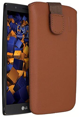 mumbi ECHT Ledertasche LG Spirit 4G Tasche Leder Etui cognac (Lasche mit Rückzugfunktion Ausziehhilfe)