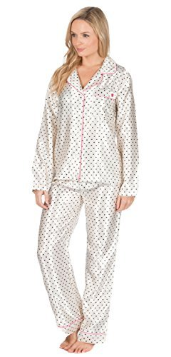 Satin Femmes Soie Set Pyjama Silky Salon pyjamas nouveau amélioré Crème avec Rose
