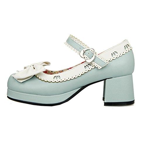 ENMAYER Femmes Chaussures à Talons Hauts à Talons Hauts Mary Janes avec Bowtie Bleu