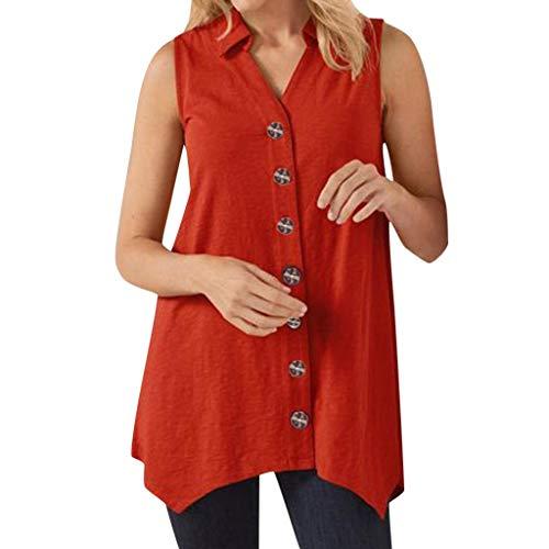 �rmellose Feste Bluse Top V-Neck Button Shirt 2019 ()