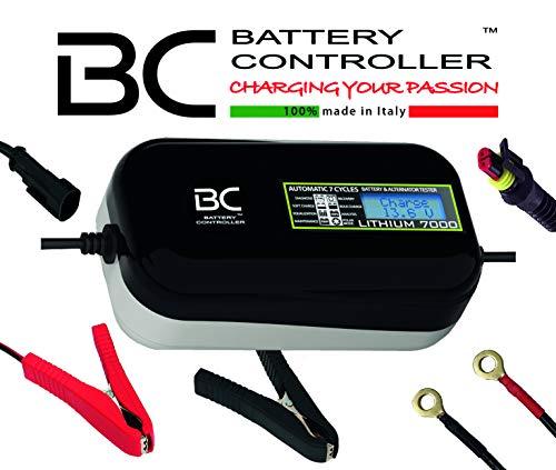 BC LITHIUM 7000-12V 7A - Caricabatteria e mantenitore automatico e digitale per batterie al litio/LiFePO4 + Tester di batteria e alternato
