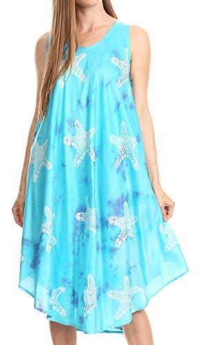 Sakkas 17148 - Vestido sin mangas casual de verano Celina Summer Tye-dye y Batik sin mangas - Turq - OS